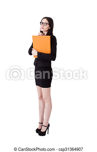 business woman with folder - csp31364907