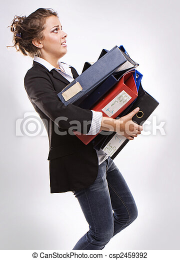 business woman with folders for documents - csp2459392