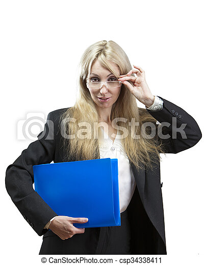 business woman with folders looks t - csp34338411