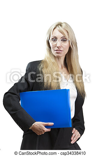 business woman with folders  - csp34338410