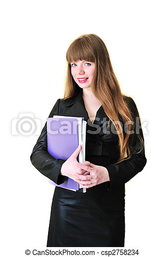 business woman with folders - csp2758234