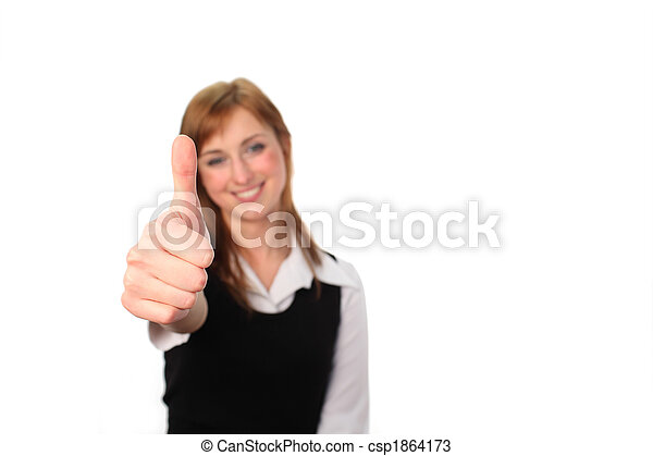 Business woman with her thumb up  - csp1864173