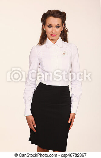 c9a5755b5b Business woman with in white blouse and black skirt clutch bag close ...