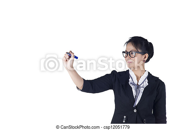 Business woman with pen writing or drawing on the screen. - csp12051779
