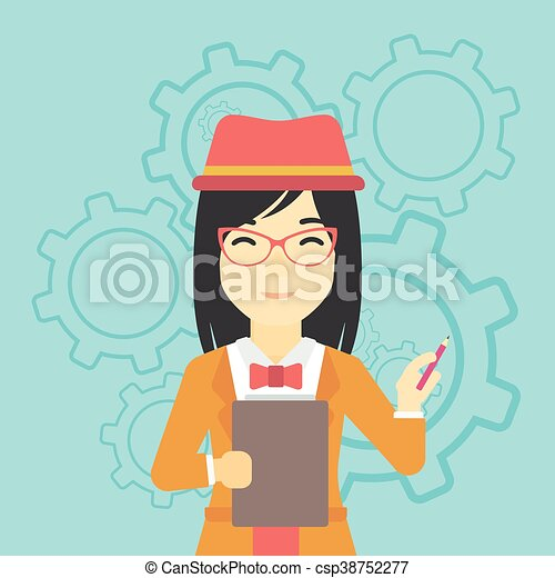 Business woman with pencil vector illustration. - csp38752277