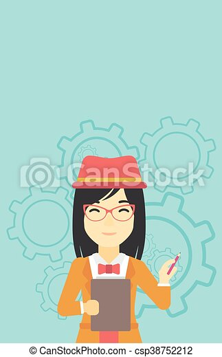 Business woman with pencil vector illustration. - csp38752212