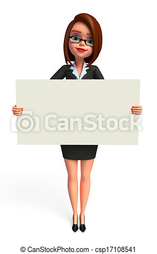 Business Woman with sign - csp17108541