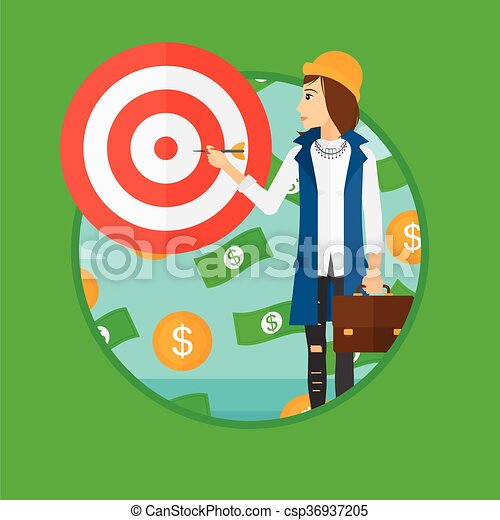 Business woman with target board. - csp36937205