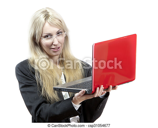 business woman with the red laptop  - csp31054677