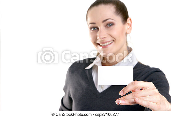 Business woman with the visit card - csp27106277