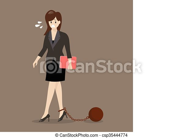 Business woman with weight burden - csp35444774