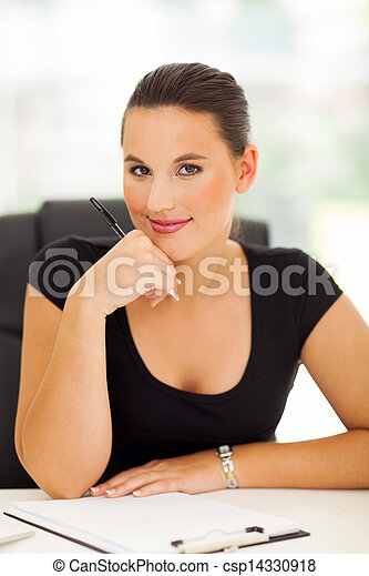 business woman working in office - csp14330918