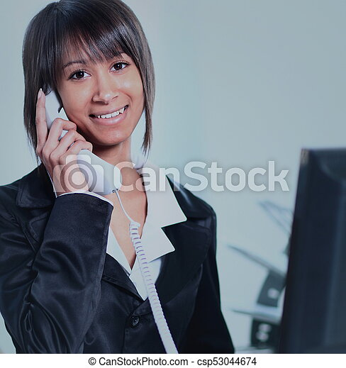 Business woman working in office - csp53044674