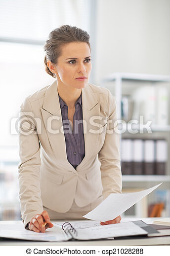 Business woman working in office - csp21028288