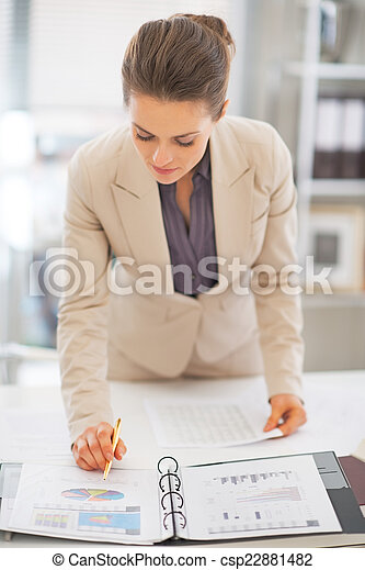 Business woman working in office - csp22881482