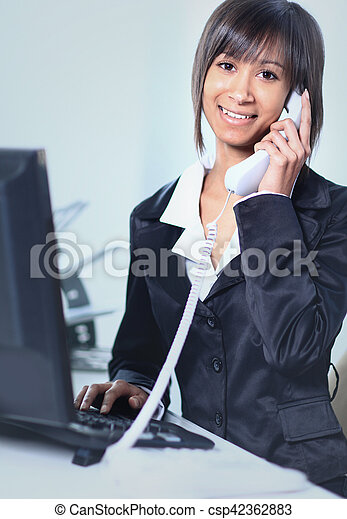 Business woman working in office - csp42362883