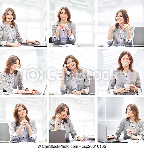 Business woman working in office - csp26610165