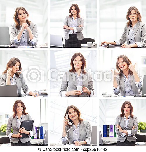 Business woman working in office - csp26610142