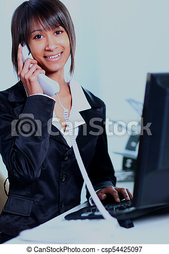Business woman working in office. - csp54425097