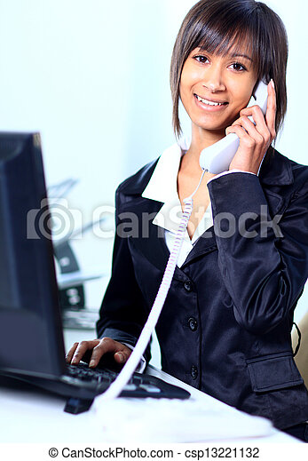 Business woman working in office - csp13221132