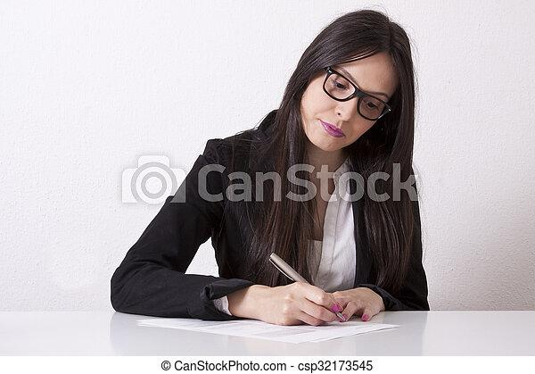 Business woman writing - csp32173545