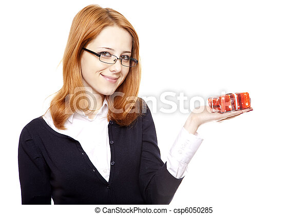Business women with gift. - csp6050285