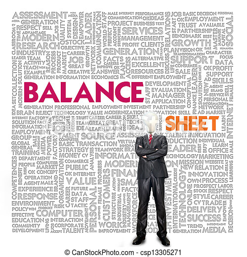 Business word cloud for business and finance concept, Balance sheet - csp13305271