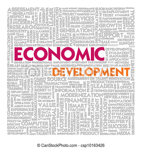 Business word cloud for business concept, Economic Development - csp10163426