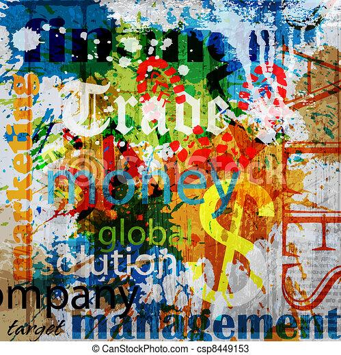 BUSINESS . Word Grunge collage on background - csp8449153
