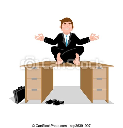 office meditation. Unique Office Businessman Meditating On Table Manager Sitting In Lotus Position  Meditation And Office