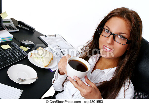business young and beautiful woman in office - csp4801553