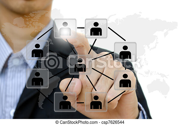 business young pushing people communication social network on  whiteboard. - csp7626544