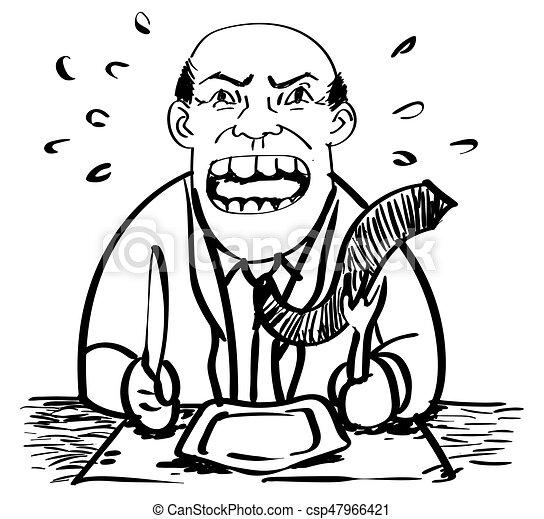 businessman αναβάλλω , μικροβιοφορέας , γελοιογραφία , food-drawing - csp47966421