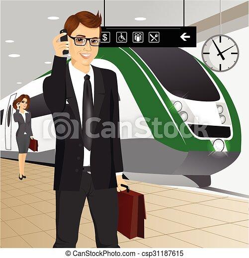 businessman αναβάλλω , τρένο  - csp31187615