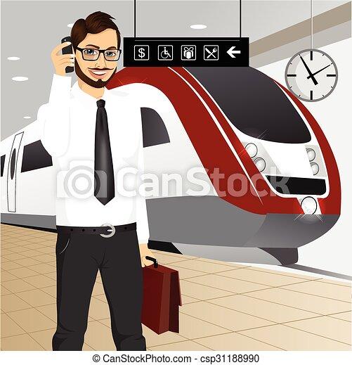businessman αναβάλλω , τρένο , μανιώδης της τζάζ  - csp31188990