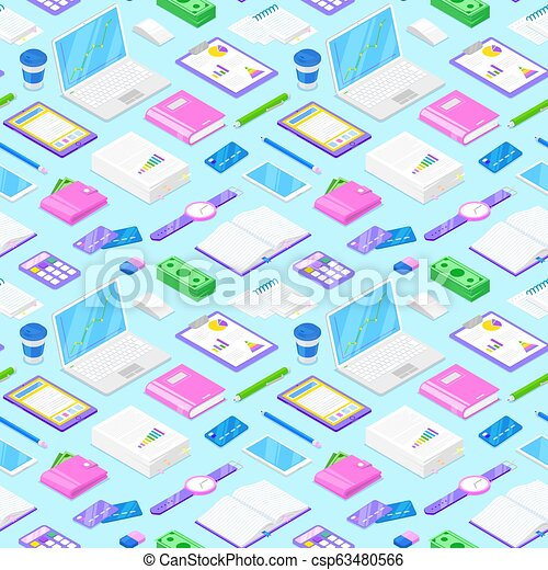 728aeff02aa9e Businessman accessories on blue background. Seamless pattern with ...