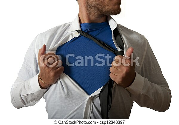 Businessman acting like a super hero - csp12348397