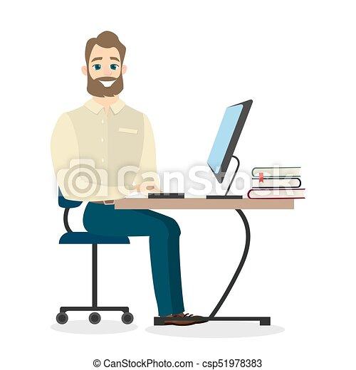 businessman., aislado, sentado - csp51978383