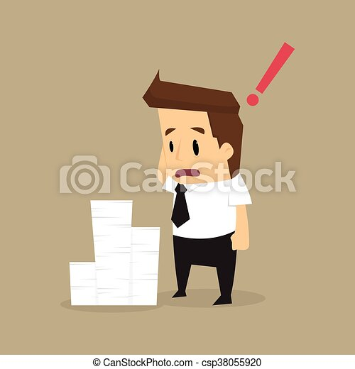 Businessman and a lot of documents - csp38055920