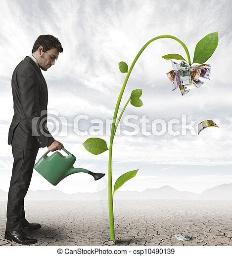 Businessman and a plant of money - csp10490139