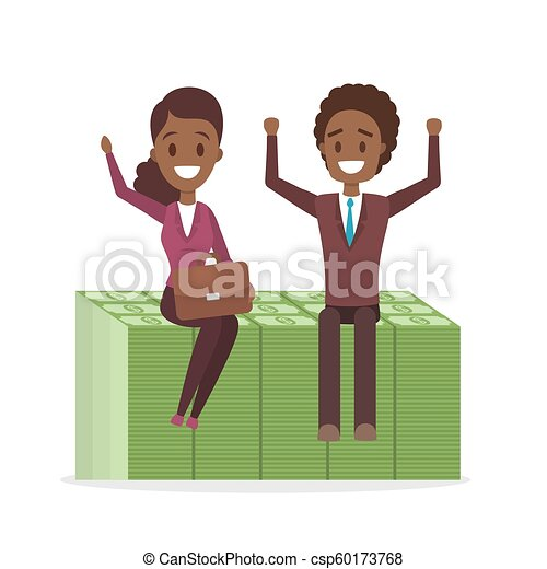 Businessman and business woman sitting on a pile of banknotes - csp60173768