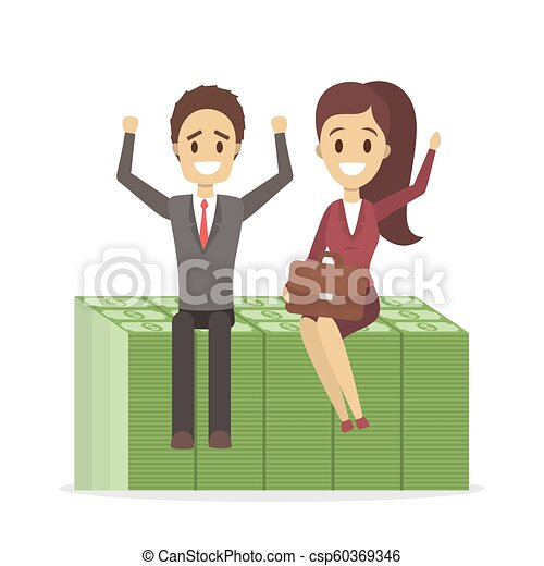 Businessman and business woman sitting on a pile of banknotes - csp60369346
