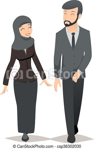 Businessman and businesswoman in traditional Muslim hijab. Business team vector concept - csp36302030