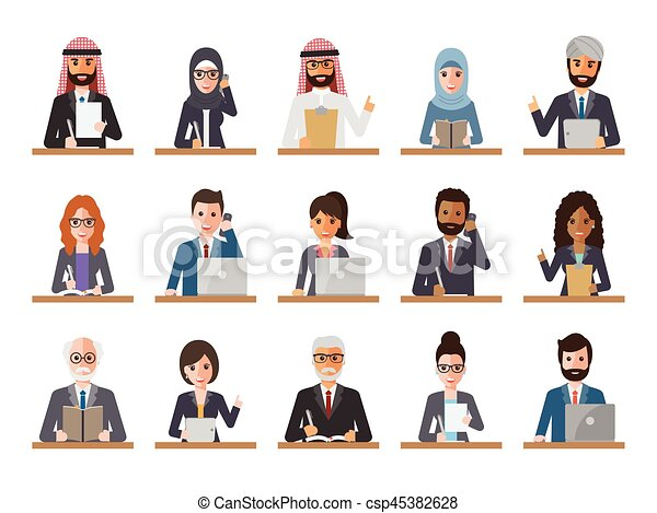 Businessman and businesswoman people in actions - csp45382628