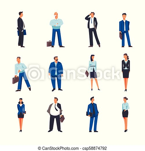 Businessman and businesswoman vector icons - csp58874792