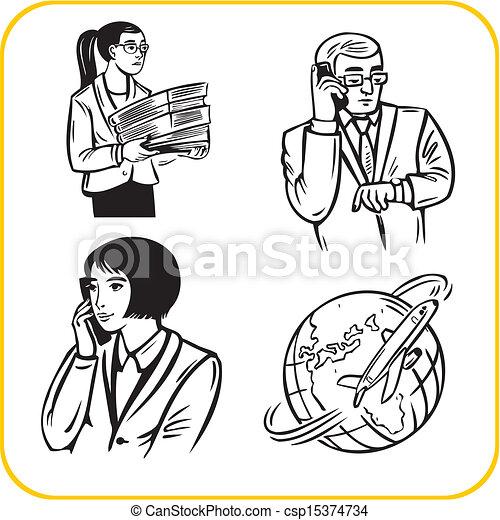 Businessman and businesswoman - Vector set. - csp15374734