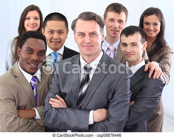 businessman and cohesive business team - csp58876446