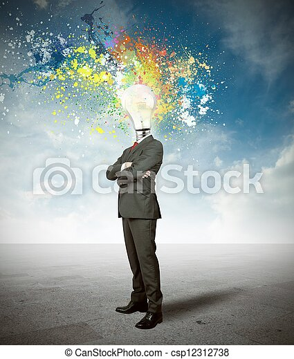Businessman and creative idea - csp12312738