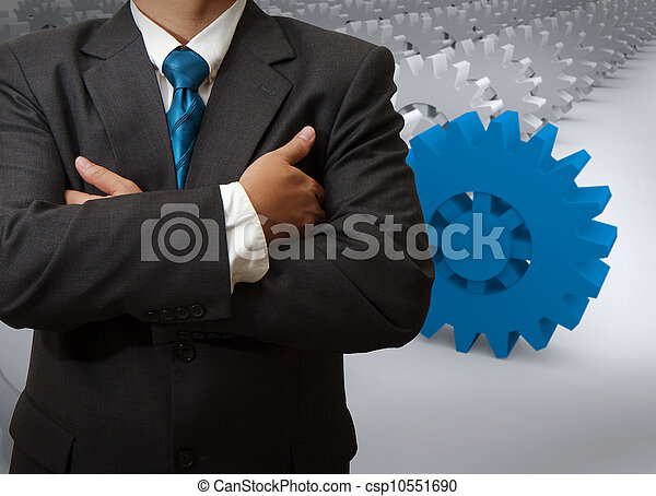 businessman and gear to success - csp10551690