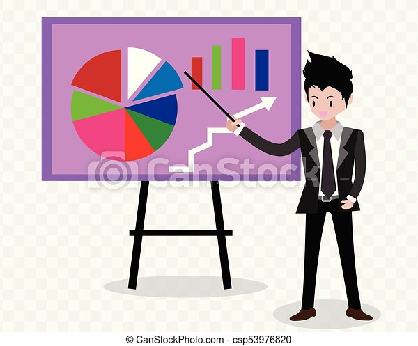 Businessman and graphs on whiteboard. Presentation concept, seminar, training, conference,effort and going beyond. Business strategy and finance.Characters.business concept .on isolate background.Vector illustration.Cartoon style. - csp53976820